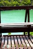 kustlijn van een groen lagune en boomzuidenbalkon Royalty-vrije Stock Fotografie
