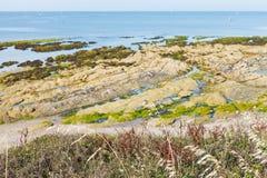 Kustlinje av Atlantic Ocean på den Guerande halvön Arkivbild
