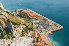 Kustlinje av Gibraltar uppifrån av vagga Fotografering för Bildbyråer
