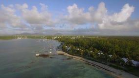 Kustlinje av Mauritius, flyg- sikt arkivfilmer