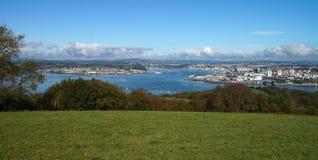 Kustlinje av Plymouth i Förenade kungariket Arkivbild