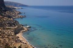 kustlinje crete greece Arkivbilder