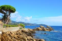 Kustlinje i le lavandou var Cote d'Azur provence, Frankrike Royaltyfri Foto