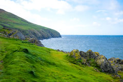 Kustlinje med grönt gräs i Douglas, ö av mannen Royaltyfri Fotografi