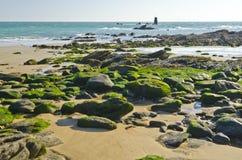 Kustlinje och torn på Pointe des Corbeaux av den Yeu ön fotografering för bildbyråer