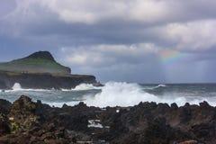 Kustlinje på Biscoitos, Terceira Royaltyfria Bilder