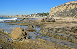 Kustlinje på Crystal Cove State Park, sydliga Kalifornien Arkivbilder