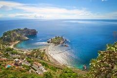 Kustlinje Taormina, Sicilien, Italien Fotografering för Bildbyråer
