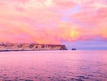 Kustlinjesikt på Dyrholaey i Island Fotografering för Bildbyråer