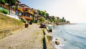Kustpromenade in Nessebar, Bulgarije royalty-vrije stock afbeeldingen