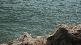 Kustrotsen en overzeese branding Spaanse stranden in Costa D ` Engelse Blanes Mallorca stock videobeelden