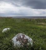 Kustscène over een weide aan het overzees met grote rotsen royalty-vrije stock foto