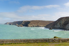 Kustsikt norr Cornwall England UK för St Agnes Arkivbilder