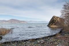 Kustskydd från vattenerosion med trästammar på en stor sjö royaltyfri bild