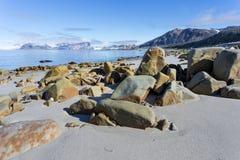 Kuststrand i Spitsbergen, arktisk Fotografering för Bildbyråer
