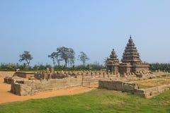 Kusttempel i Mahabalipuram, Indien Arkivbild
