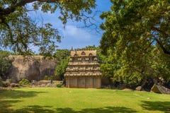 Kusttempel i Mahabalipuram, Tamil Nadu, Indien, en UNESCOvärld Royaltyfri Fotografi