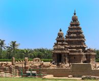 Kusttempel, Mahabalipuram, India stock afbeelding