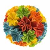 Kusudama bonito do origâmi do artesanato das flores do arco-íris fotos de stock royalty free