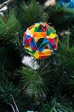 Kusudama Origami decoration in Christmas Tree Royalty Free Stock Images
