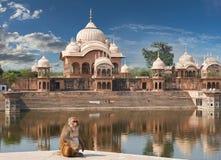 Kusum Sarovar i Mathura Uttar Pradesh, Indien Arkivfoto