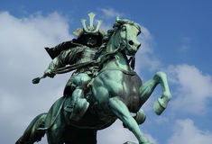 Kusunoki Masashige古铜色雕象  免版税库存图片