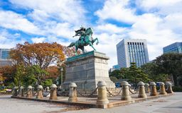 Kusunoki Masashige staty i Tokyo, Japan arkivfoto