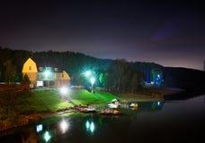 Kuszetka z łodziami w nocy Obrazy Royalty Free