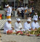 Pemangku Priests at Religious Festival on a Sunny Summer Morning Stock Photo