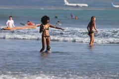 Kuta beach. Learn how to swim Stock Photography
