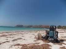 kuta beach in lombok stock images