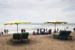 Kuta strand i Bali, Indonesien royaltyfri bild