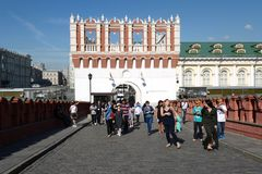 The Kutafya tower is the only surviving branching tower-Barbican of the Moscow Kremlin. Royalty Free Stock Photography