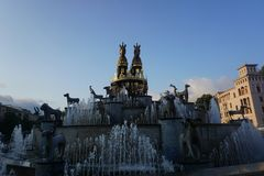 Kutaisi Colchis Fountain Two Horses royalty free stock images