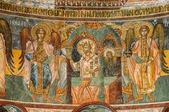 Kutaisi Georgia Medeltida Frescoes i den Gelati kloster arkivfoton