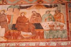 Kutaisi Georgia Medeltida Frescoes i den Gelati kloster arkivbilder