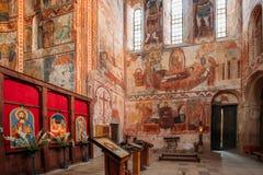 Kutaisi Georgia Medeltida Frescoes och altare i Gelati Monaster arkivbild