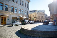 KUTAISI, GEORGIA - NOVEMBER 22, 2016: Main street of Kutaisi town, capital of the western region of Imereti, Georgia. Chilly sunny day in late autumn royalty free stock image