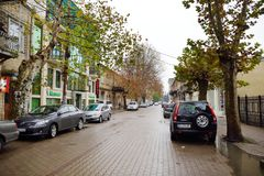 KUTAISI, GEORGIA - NOVEMBER 22, 2016: Picturesque medieval streets of Kutaisi town, capital of the western region of Imereti, Geor. Gia. Chilly sunny day in late stock photography