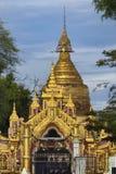 缅甸语Kuthodaw金黄Stupa 库存图片