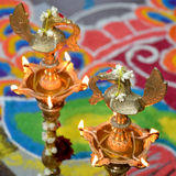 Kuthu Vilakku. This traditional brass lamp is used to decorate homes, temples and madap Royalty Free Stock Photography