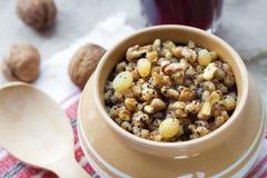 Kutia - pudding doux de grain, le premier plat traditionnel du dîner de réveillon de Noël dans oriental - pays européens Photo libre de droits