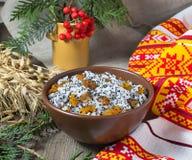 Kutia - traditionele Kerstmis zoete maaltijd in de Oekraïne, Wit-Rusland en stock foto's