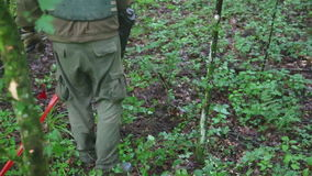 KUTINA CHORWACJA, CZERWIEC, - 2014: Obsługuje próbować wykrywać kopalni w demining procesie po środku lasu zbiory wideo