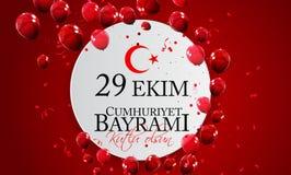 29 kutlu van Ekim Cumhuriyet Bayrami olsun Vertaling: 29 oktober-Republiek Dag Turkije en de Nationale Dag in Turkije royalty-vrije illustratie
