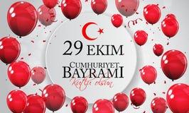 29 kutlu van Ekim Cumhuriyet Bayrami olsun Vertaling: 29 oktober-Republiek Dag Turkije en de Nationale Dag in Turkije vector illustratie