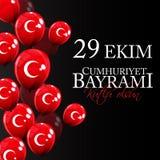 29 kutlu van Ekim Cumhuriyet Bayrami olsun Vertaling: 29 oktober-Republiek Dag Turkije en de Nationale Dag in Turkije stock illustratie