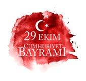 Kutluolsun för 29 Ekim Cumhuriyet Bayrami Översättning: 29 oktober republikdag Turkiet och den nationella dagen i Turkiet stock illustrationer