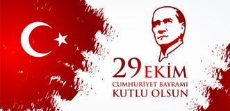 Kutluolsun för 29 Ekim Cumhuriyet Bayraminiz Översättning: 29 oktober lycklig republikdag Turkiet Arkivfoton