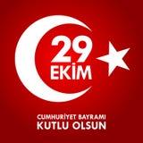 Kutluolsun för 29 Ekim Cumhuriyet Bayraminiz Översättning: 29 oktober lycklig republikdag Turkiet Arkivfoto